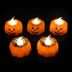2/3/6pcs Halloween Small Pumpkin Candle Light Flameless LED Lights Lamp For Home Table