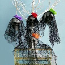 Halloween Skull Hanging Ornaments Foam Skull Bride Clothes Bone Head Scene Layout Props