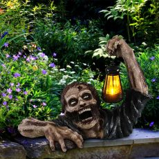 Zombie Gnome Garden Statues Solar Lights The Zombie with Led Lantern Resin Horror Movie