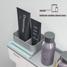 BAISPO Magnetic Adsorption Toothbrush Holder Inverted Cup Wall Mount Bathroom Cleanser Storage Rack Bathroom Accessories Set