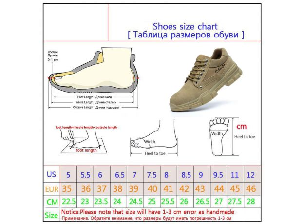 Men Work Shoes High Quality Safety Boots Steel Toe