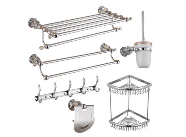Brass Shower Shelf  Toilet Paper Holder Silver Crystal Wall Mounted Towel Bar Toilet Brush Holder Bathroom Accessories set
