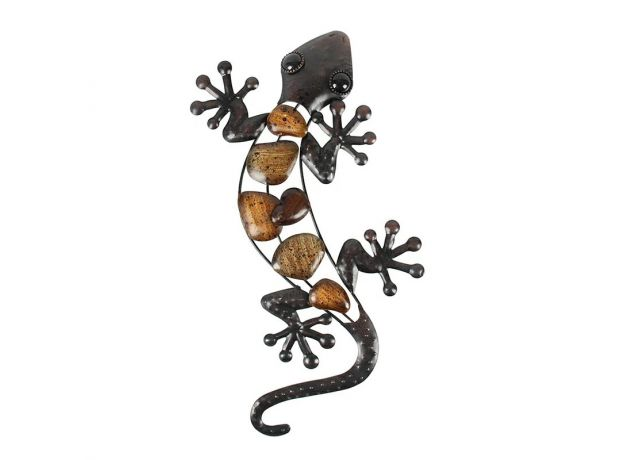 Metal Gecko Wall for Garden Decoration Outdoor Statues Accessories Sculptures and Animales Jardin