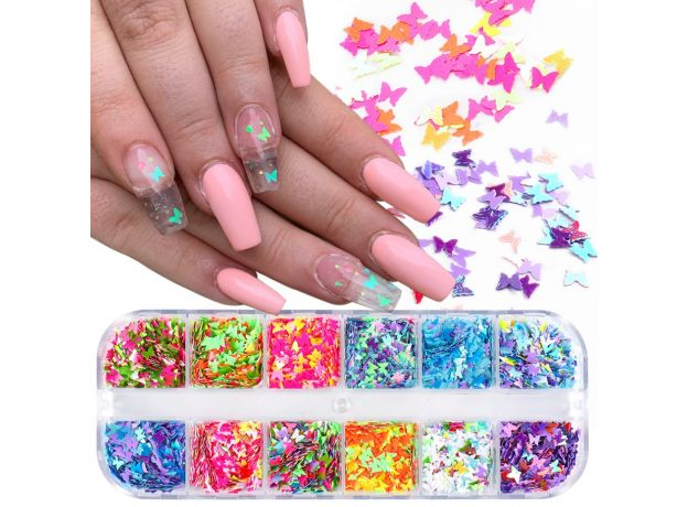 Holographic Butterfly  heart multi Shape  Laser Symphony Butterfly Sequins 3D Colorful Sequins Manicure  Nail Art Decoration