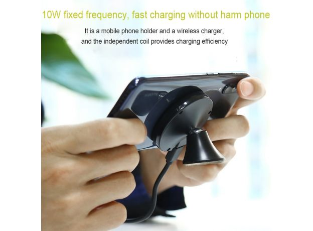Qi 10W Fast Wireless Charger Car Stand Nano Absorb Dashboard Mobile Phone Holder Air Outlet Navigation Wireless Charging Holder