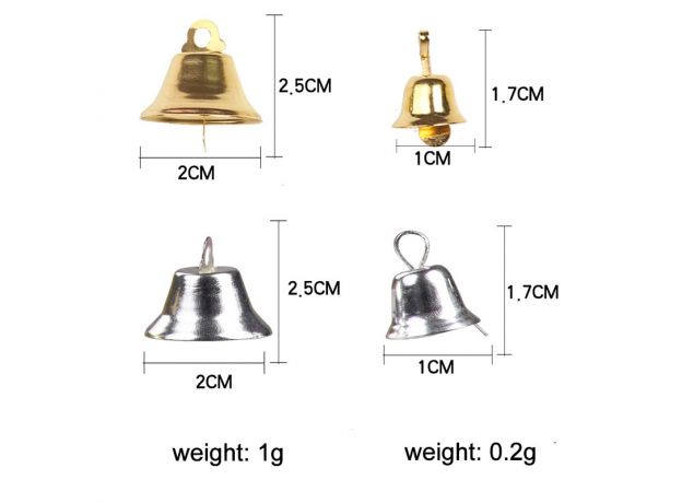 1cm 2cm Small Mini Jingle Bells Gold Silver Pet Hanging Metal Bell Wedding Christmas Decoration Accessories Bells For Crafts