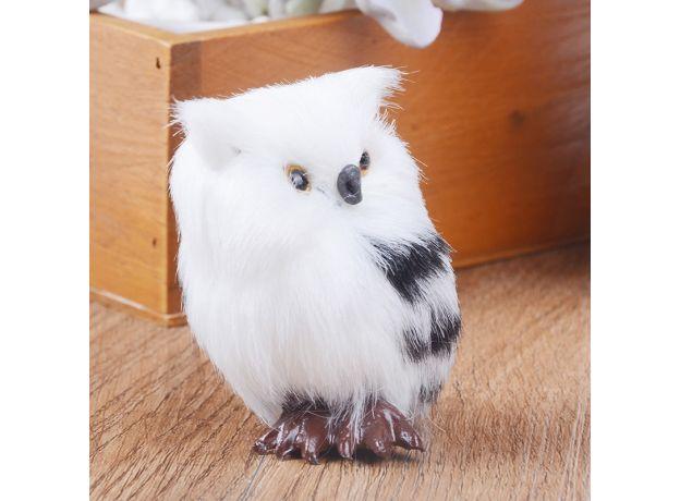 Cute Lovely Owl White Black Furry Christmas Bird Ornament Decoration Adornment Simulation for Home Decor Gift  5*4.5*7cm