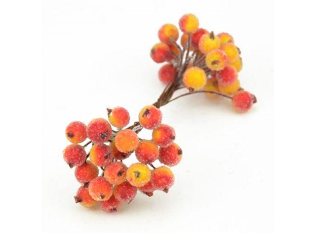 Mini Double Heads Fake Fruit Artificial Glass Berries Pomegranate Red Cherry Bouquet Stamen Christmas Decorative DIY Accessories