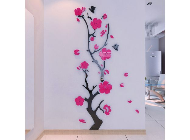 Plum flower 3d Acrylic mirror wall stickers Room bedroom DIY Art wall decor  living room entrance background wall decoration