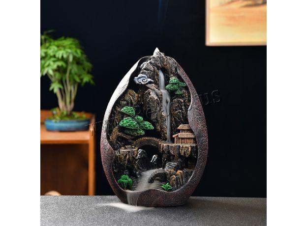 Smoke Waterfall Backflow Incense Burner Creative Home Decor Incense Holder Portable Resin Censer Mountain River Handicrafts