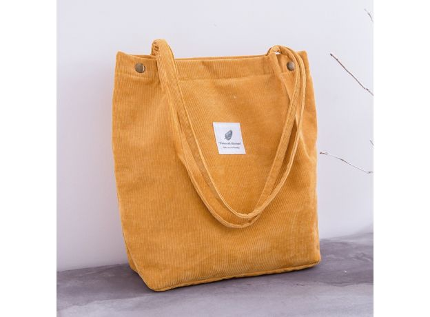 Women Corduroy Shopping Bag Female Canvas Cloth Shoulder Bag Environmental Storage Handbag Reusable Foldable Eco Grocery Totes