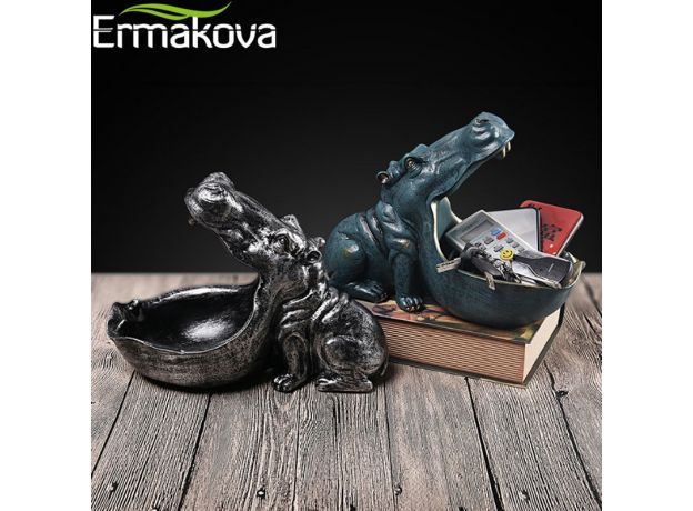 ERMAKOVA Resin Hippo Statue Hippopotamus Sculpture Figurine Key Candy Container Decoration Home Table Decoration Accessories