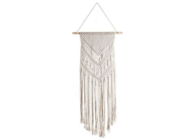 White Tapestry Woven Wall Hanging Boho Chic Bohemian Room Geometric Tapestry Art Beautiful Apartment Dorm home Room Decoration