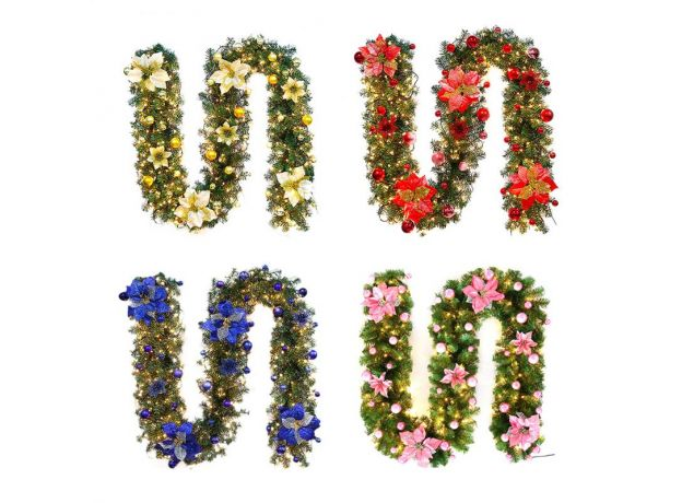 6 Colors 2.7M Luxury Christmas Decorations Garland Decoration Rattan with Lights Xmas Home Party Christmas Tree Decorations