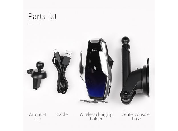 HOCO Qi Wireless Car Charger Automatic Infrared Clip Air Vent Mount Car Phone Holder Glass Surface 15W Fast Charger for iPhone X