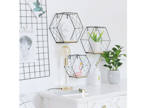 Nordic Style Iron Hexagonal Grid Wall Shelf Combination Wall Hanging Geometric Figure for Wall Decoration Living Room Bedroom