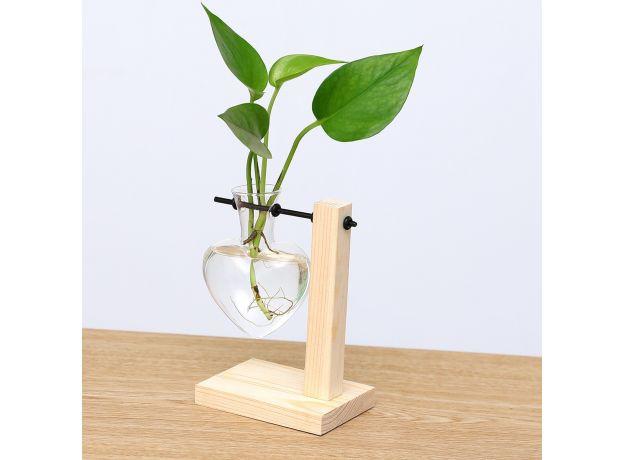Wooden Frame Clear Glass Vase Heart Shape Hydroponic Plant Vase Flower Pot Table Desktop Bonsai Bud Vase Home Decoration
