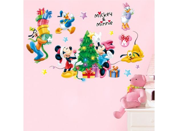 disney mickey minnie duck goofy wall stickers for kids rooms home decor cartoon christmas wall decals pvc mural art diy posters