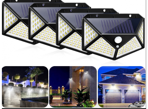 Outdoor Waterproof 100 LED with Solar Panel Power and Motion Sensor