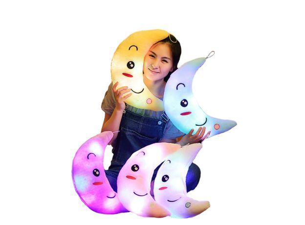 Moon Pillow Plush Toys Cute Luminous Toy Led Light Glow In Dark Doll for Children