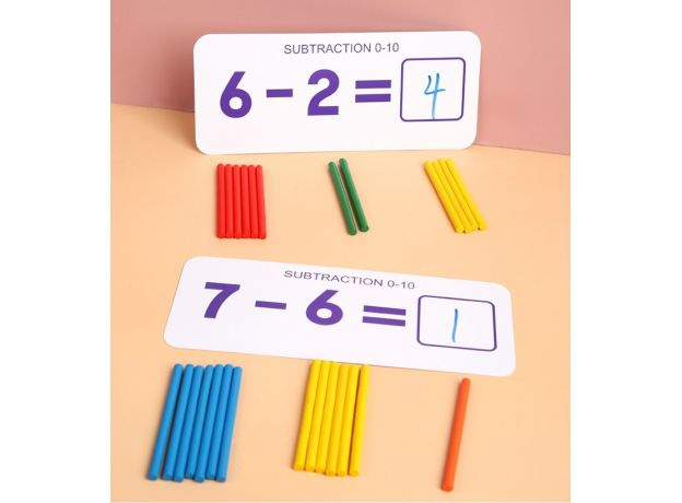 Montessori Educational Math Toys Enlightenment Teaching With Card Boards Wooden Counting Sticks Addition Subtraction Toy