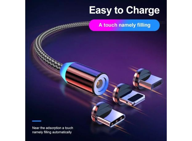 USB Magnetic Charging Cable for Micro Type-C 8 Pin Fast Charging Cable for Iphone Huawei Samsung Android Mobile Phone Cord Wire