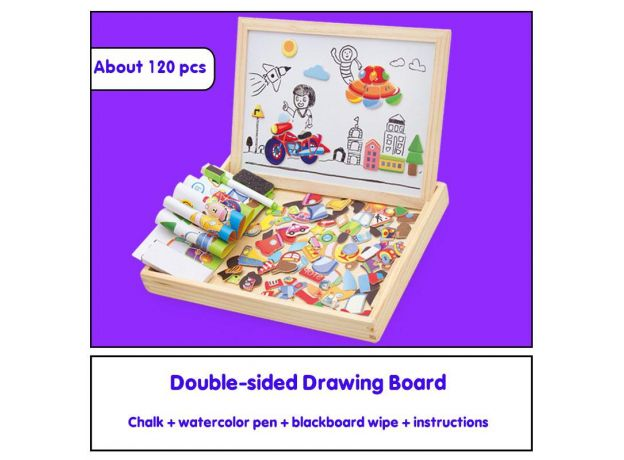Wooden Magnetic Puzzle Toys For Kids Multifunctional Montessori Black And White Board Drawing 3d Puzzle Education Children Toys