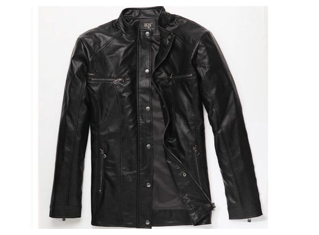 New Mens Winter Thickness Leather Jackets Mens British Mandarin Collar Leather