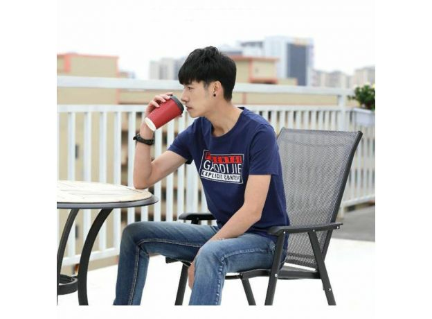 Men's Crew Neck T Shirt Tee Short Sleeve S-L Gray & Blue