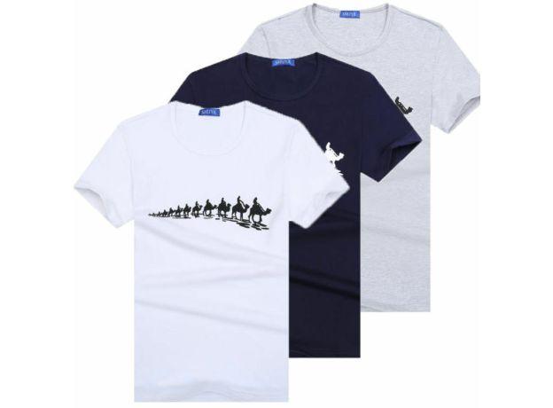 New Men's Fashion Crew Neck T-Shirt Tee Short Sleeve White Gray Blue