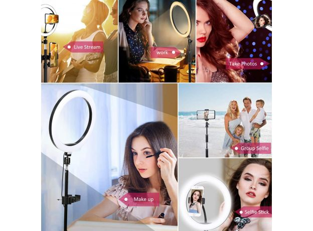 LED Ring Light Photographic Selfie Ring Lighting with Stand for Smartphone YouTube Makeup Video