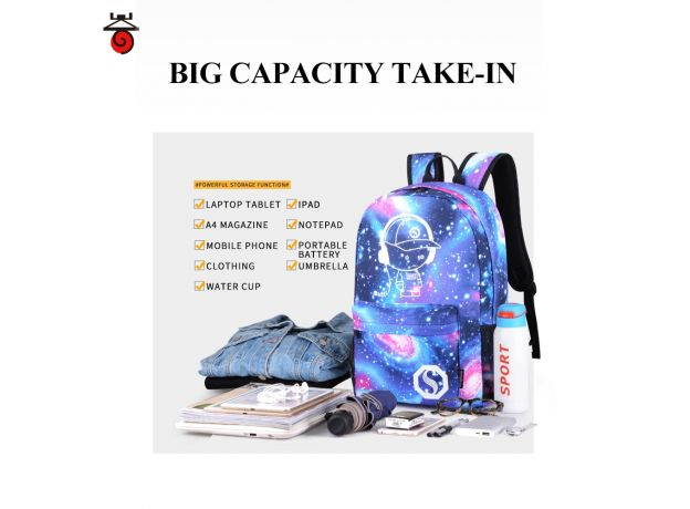 Luminous School Bag Bookbag Lightweight Waterproof Backpack with USB Charger Port and Lock & Pencil Case for Teens Girls Boys